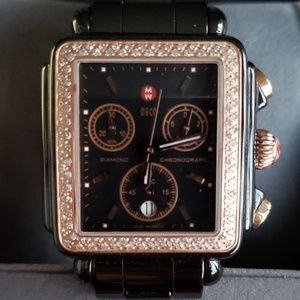 Ladies Diamond Deco Black Rose Gold Ceramic Watch
